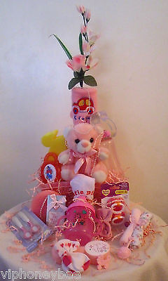 Baby Girl Shower Gift Set- 20 Piece Pink Custom Gift Wrapped in Soft Tulle
