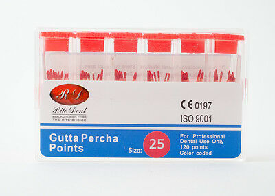 Gutta Percha Points #25 120/Box Vial Endodontic Obturation Dental Emporium
