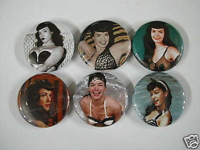 BETTY PAGE PIN UP GIRL 6 NEW PINS Pinbacks Buttons S