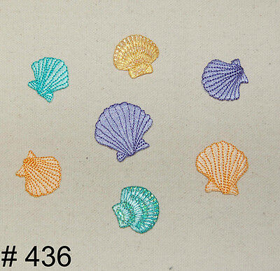 7Pcs~Multi Color Seashells~Iron On Embroidered Applique