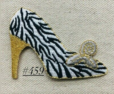 1PC~HIGH HEEL SHOE~ IRON ON EMBROIDERED APPLIQUE PATCH