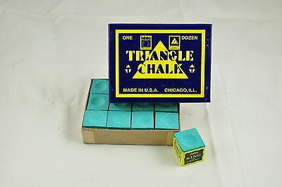 3 cubes of green triangle chalk for snooker pool cues