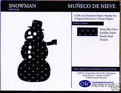 Creative Memories Large Snowman Die Cut Bn & Nla
