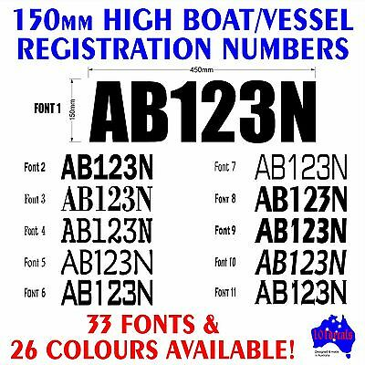 Boat,Tinny,Vessel REGISTRATION numbers lettering.2x150mm marine decals stickers