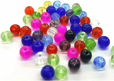 100 pcs of 6mm Crystal Glass Round Beads - Assorted Mixed - A3656
