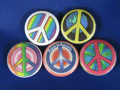 HIPPIE PEACE SIGN psychedelic 5 NEW Pinbacks Buttons CN