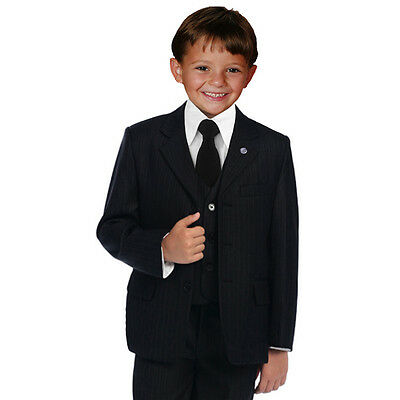 Johnnie Lene Pinstripe Black Boys Suit  Baby to Teen