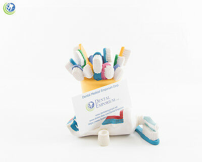Hygienist Dental Office Stationary Yellow Toothbrush Resin Cup Pen & Card Holder