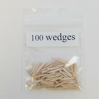 New Dental Disposable Curved Contoured Wood Wedges Natural 100 Pk Small Size