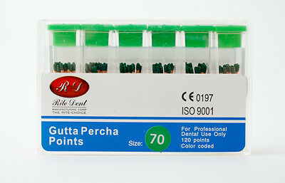 Gutta Percha Points #70 120/Box Vial Endodontic Obturation Dental Emporium