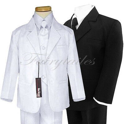 Boy Formal Baby/Communion Black/White Tuxedo/Suit Size