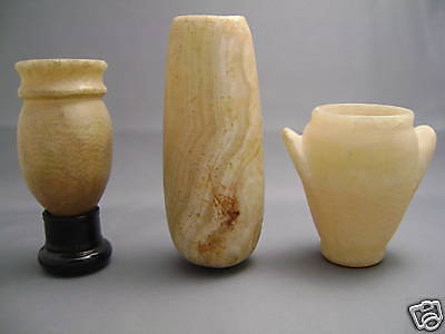 THREE EGYPTIAN ALABASTER VESSELS - Gustave Jequier