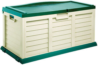 Garden Storage Box Large Plastic Chest With A  Sit On Lid Green