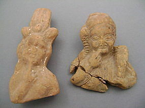 2 ANCIENT EGYPTIAN TERRACOTTA HEADS - Gustave Jequier