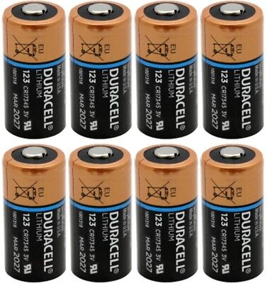 8 X Duracell DL123A, CR123A 3V Lithium Batteries