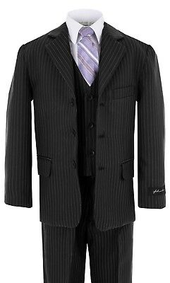 Johnnie Lene Black Pinstripe Boys Suit  Baby to Teen