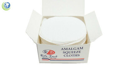 "Dentist Dental Amalgam Squeeze Cloth 3"" Diameter 100% White Cotton 100/box"