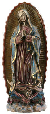 """NEW! 8"""" Our Lady of Guadalupe Figurine  Bronze Color Statue Virgin Mary Bible"""