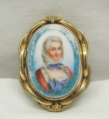 Antique Victorian Enamelled Painted Miniature Brooch