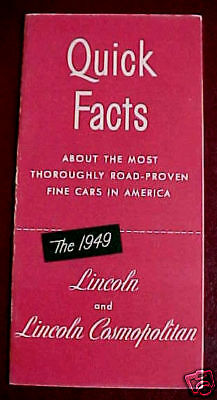 1949 LINCOLN FACTS BROCHURE EXCELLENT ORIGINAL RED ONE