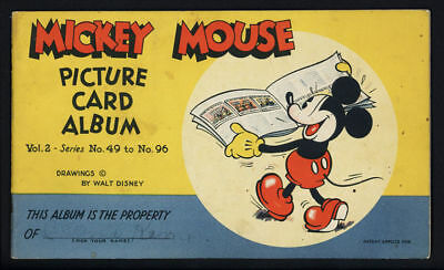 1930s Mickey Mouse Picture Card Album with 11 cards
