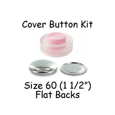 Size 60 (1 1/2 inch) Cover Buttons Starter Kit (makes 5) with Tool - Flat Backs