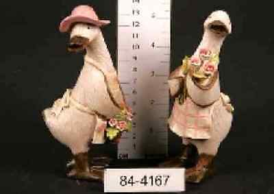 A Pair Of Handcrafted Pink Country Rose Ducks