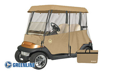 Drivable 2 Person Golf Car Cart Cover Enclosure Tan