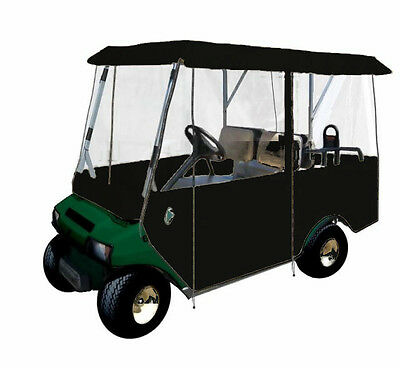 Drivable 4 Person Premium Golf Car Cart Cover Enclosure Black
