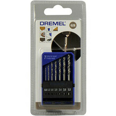 Dremel 628 Precision 7 Drill Bit Set 0.8mm 1.2mm 1.6mm 2.0mm 2.4mm 2.8mm 3.2mm