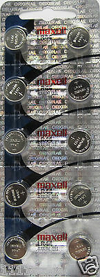 10 Maxell Watch Battery Button Cell LR44 AG13 A76