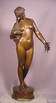 """Antique Bronze Nude Lady With Flowers 22-1/2"""""""