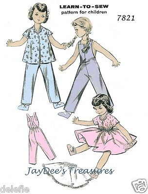 7821 Doll Clothes Pattern for 16-inch Vintage PJ's Overalls Dress & Wardrobe
