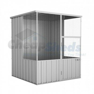 Absco Flat Roof Aviary 1.5m x 1.5m Zincalume Coop Cage 30Yr Warranty