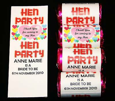 30 Personalised Love Heart Sweet Favour Hen Night Party