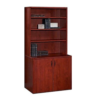 New Amber Office 2-Door Storage Cabinet with Hutch