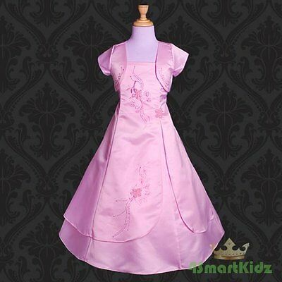 Sequin Diamante Formal Occasion Dress Wedding Flowergirl Party Hot Pink 3-8 #304