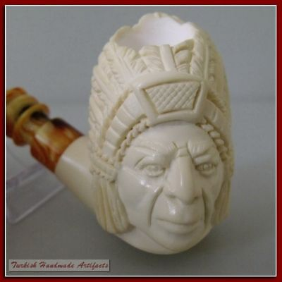 WARRIOR Meerschaum Smoking Tobaco Tobaco Pipe Pipes Pipa with FITTED CASE 61