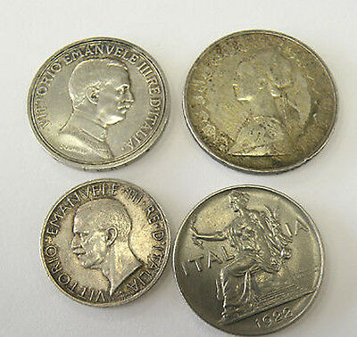 Lot Of 4 Italian Coins 1914 1930 1922 R1961 R