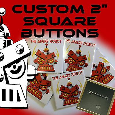 """100 Custom Made 2 inch SQUARE Pinback Buttons Badges 2"""""""