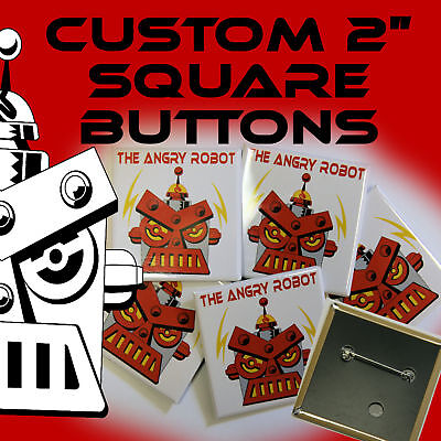"""25 Custom Made 2 inch SQUARE Pinback Buttons Badges 2"""""""