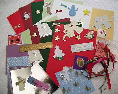 CHILDREN`S CHRISTMAS CARD MAKING / CRAFT KIT (MAKES 10 CARDS) free post