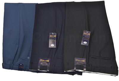 Mens Smart Formal Casual Dress Trousers Expand a Band Waist 32-48 Leg 27 29 31
