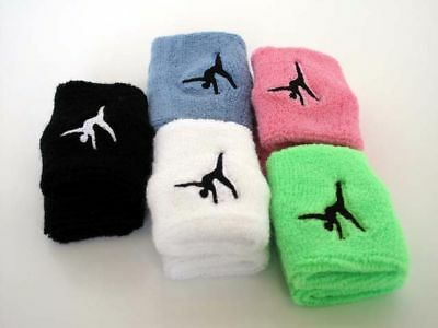 2 x Gymnastics Cartwheels LOGO Cotton Wristband Sweatband Embroidered