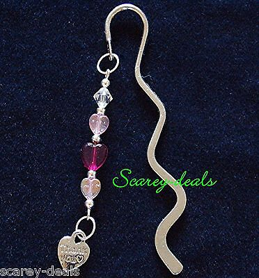 BOOKMARK Thanks heart  beads WAVE DESIGN SILVER BOOK MARKER