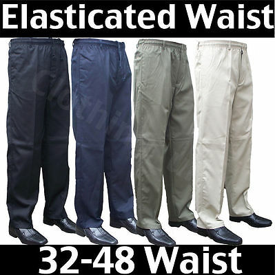 Men's Elasticated Waist Smart Casual Rugby Trousers Waist 32-48 Leg 27 29 31
