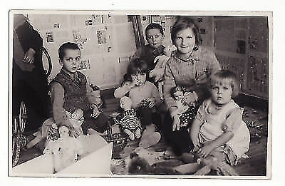 1940s Soviet Russia  Little Girls Boys with MANY different TOYS DOLL Real Photo
