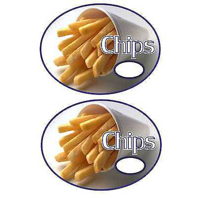 2  chips fries cone vinyl  catering stickers   Burger van, Chip Shop, Cafe