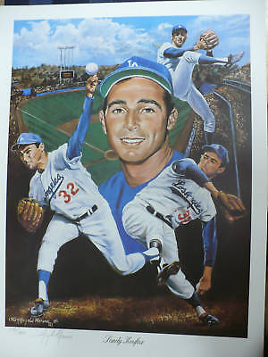 Sandy Koufax Los Angeles Dodgers 18x24 Lithograph LE1450 Signed By Angelo Marino