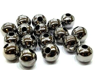 BUY 3 GET 3 FREE 100 Pcs 8mm Gunmetal Black Metal spacer Beads - A6767